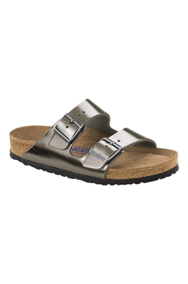 Side View Birkenstock Arizona Soft Footbed Leather Regular Sandal in Metallic Anthracite