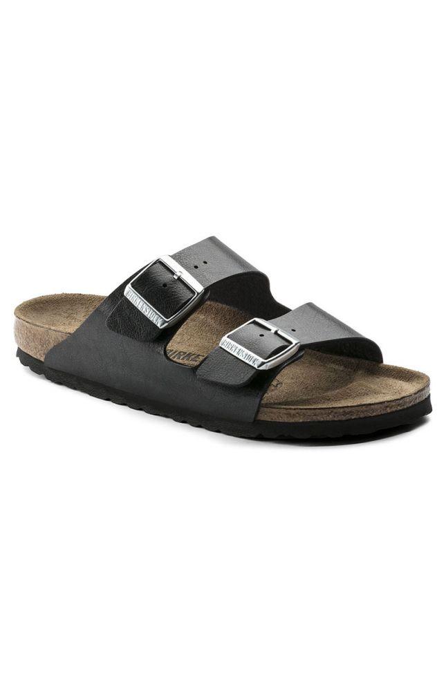 Side View Birkenstock Arizona Soft Footbed Sandal in Licorice