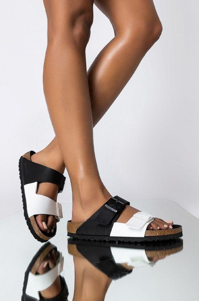 Front View Birkenstock Arizona Split Birko-flor Sandal in Black