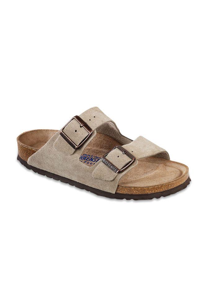 Birkenstock Arizona Suede Leather Narrow Sandal in Taupe Suede