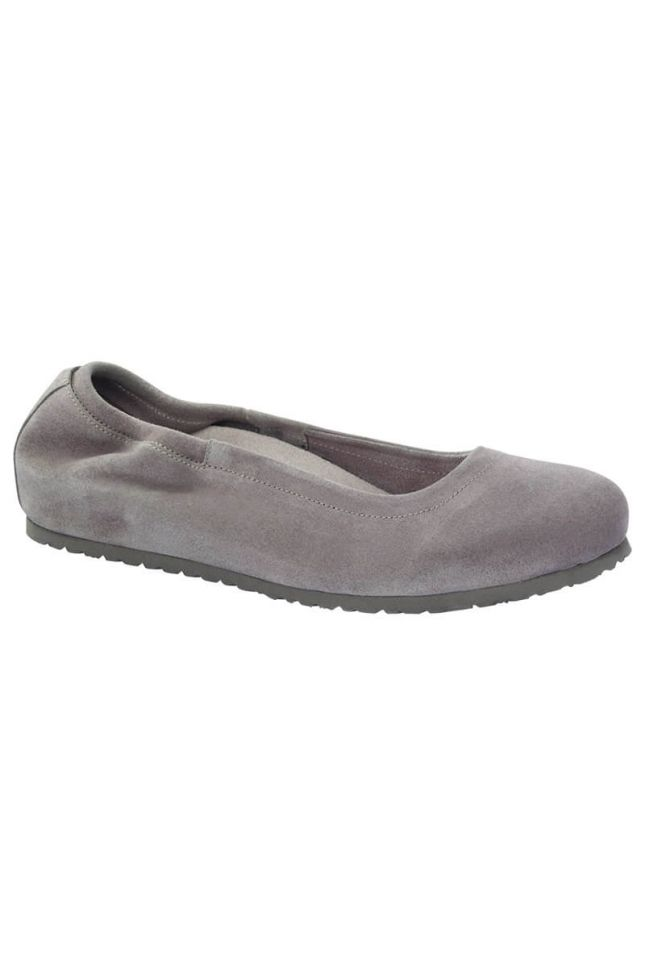 Front View Birkenstock Celina Suede Leather Flat in Taupe Suede