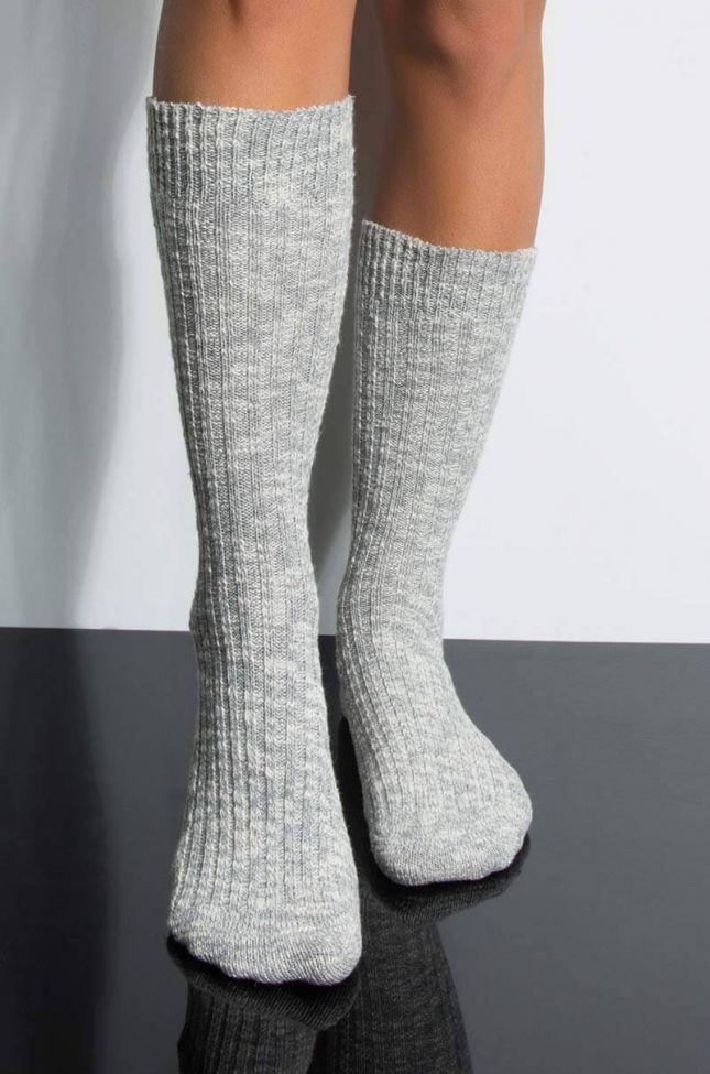 Front View Birkenstock Cotton Slub Womens Sock  in Gray
