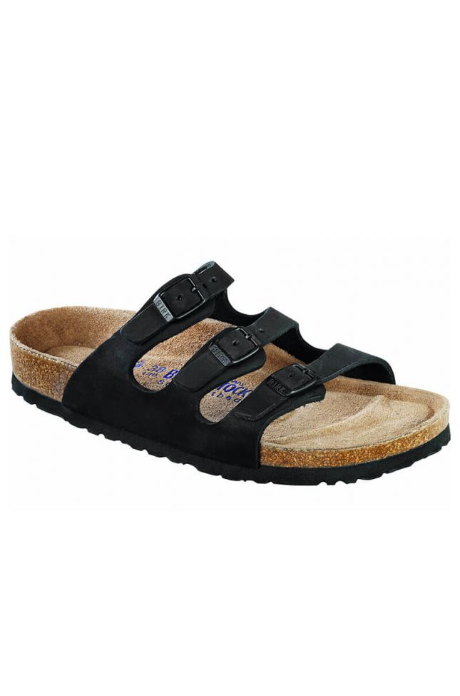 Front View Birkenstock Florida Soft Footbed Sandal in Black
