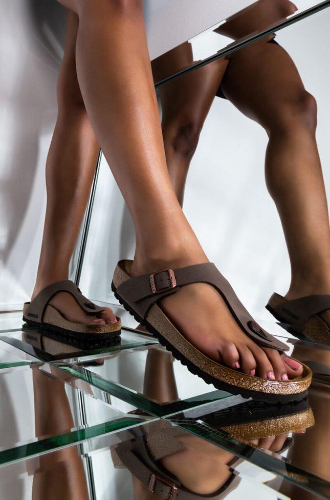 Front View Birkenstock Gizeh Sandal in Mocha