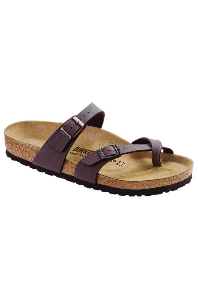 Front View Birkenstock Mayari Birkibuc Regular Sandal in Mocha