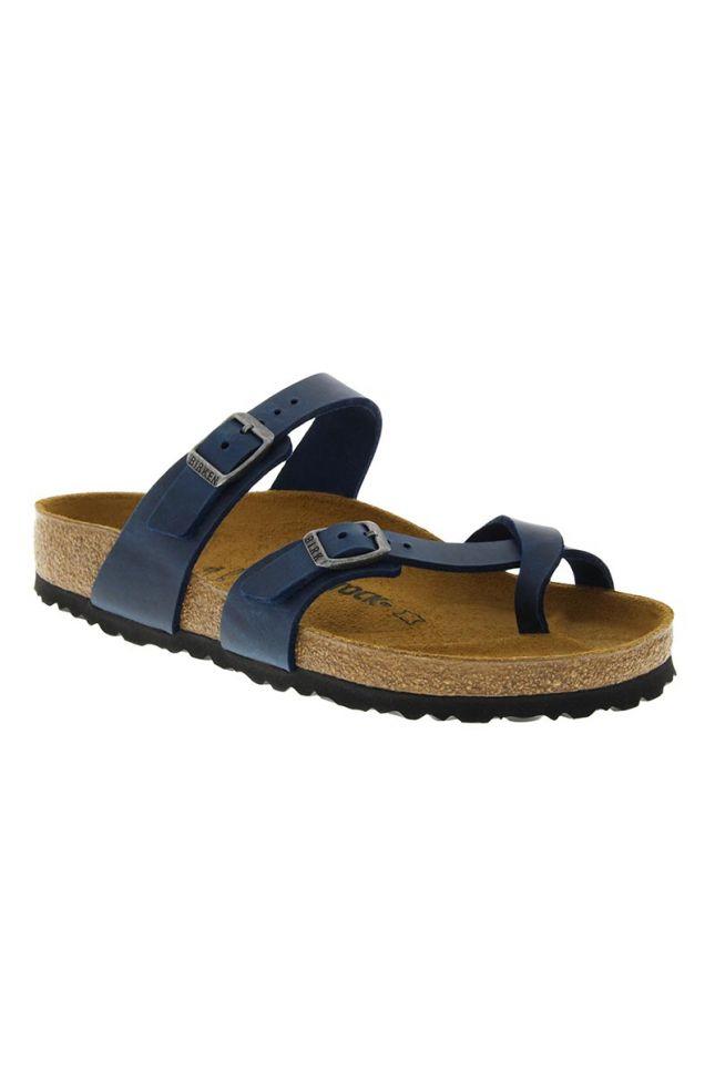 Side View Birkenstock Mayari Leather Sandal in Blue