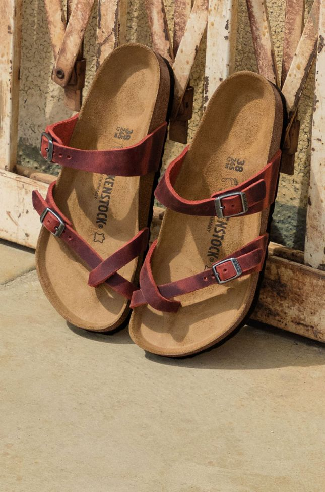 Side View Birkenstock Mayari Oiled Lthr Earth Red in Earth Red