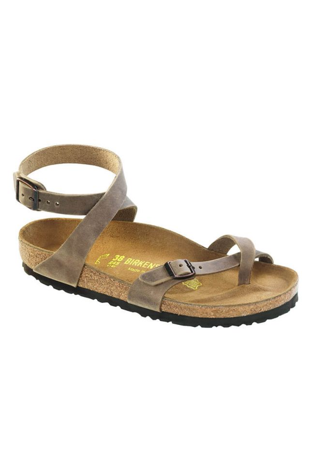 Front View Birkenstock Yara Oiled Leather Tobacco Sandal in Tobacco