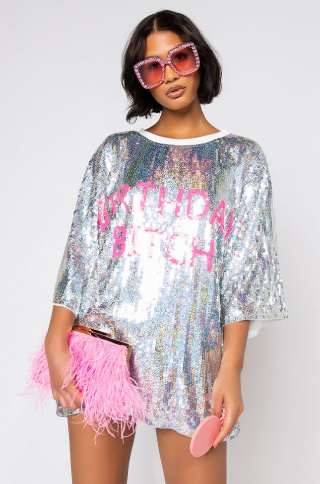 Front View Birthday Bitch Sequin Tshirt Dress in Silver Multi