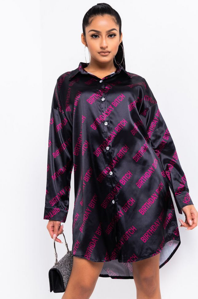 Front View Birthday Forever Shirt Dress in Black Multi