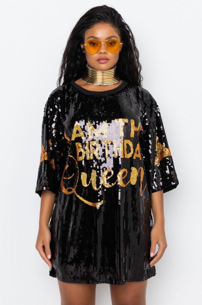 Side View Birthday Queen Sequin T Shirt Dress