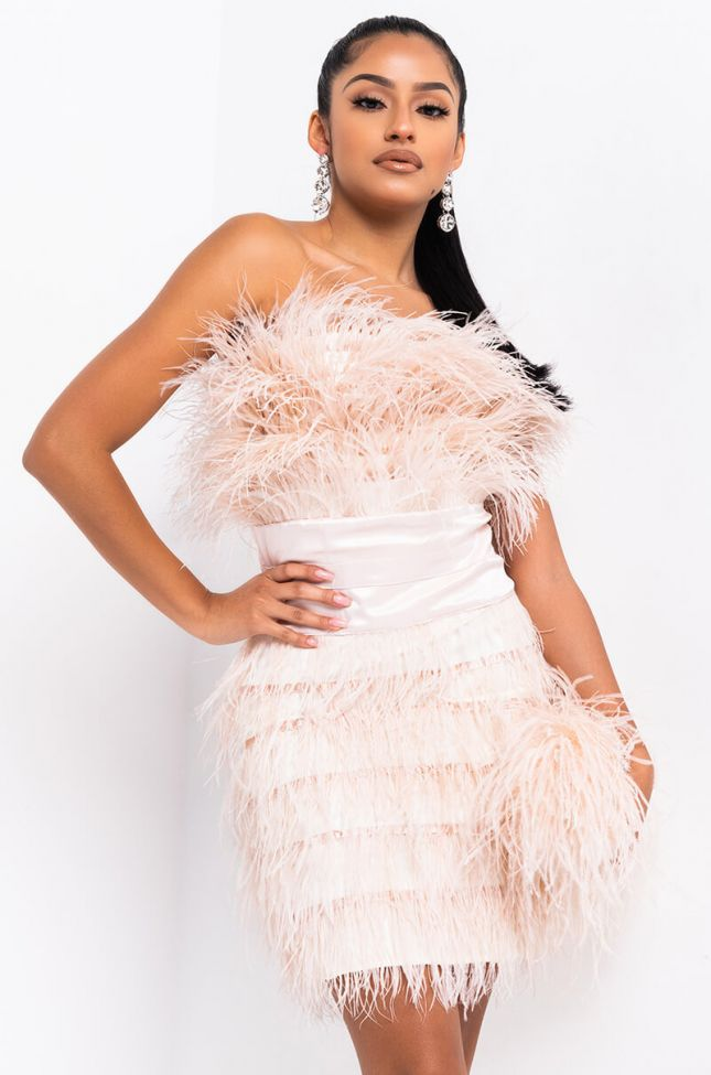 Front View Bite Me Feather Mini Dress in Nude