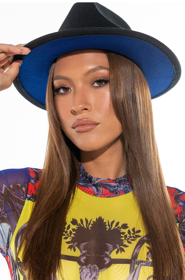 Side View Black And Blue Brim Hat