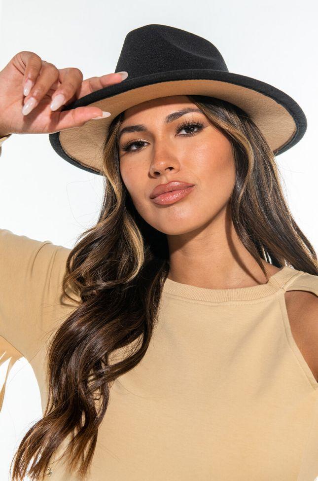 Front View Black Brown Under Brim Hat