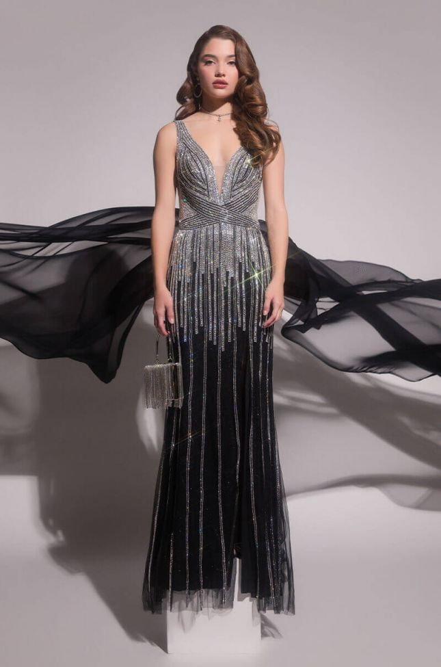 Front View Black Label Its Not A Dream Full Stone Maxi Gown in Black