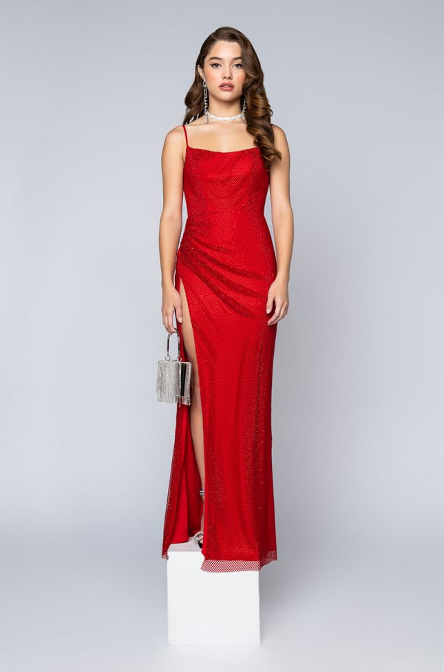 Side View Black Label Move Over Jessica Rabbit Full Stones Maxi Gown in Red
