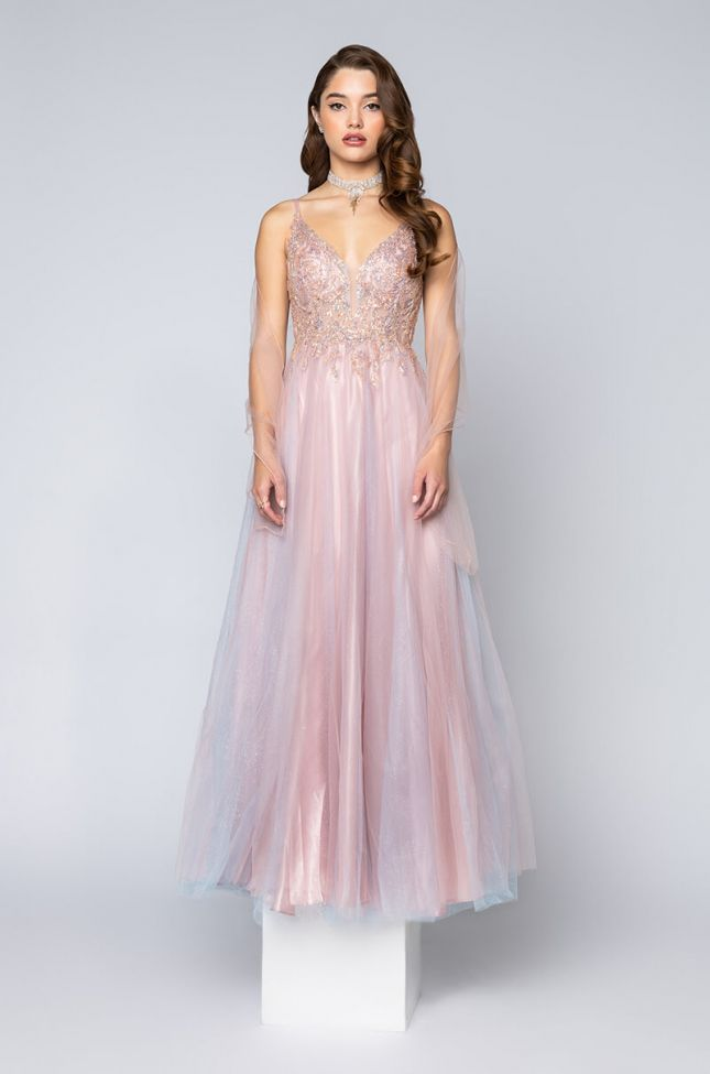 Back View Black Label Over All Of It Tulle Maxi Gown in Pink Multi
