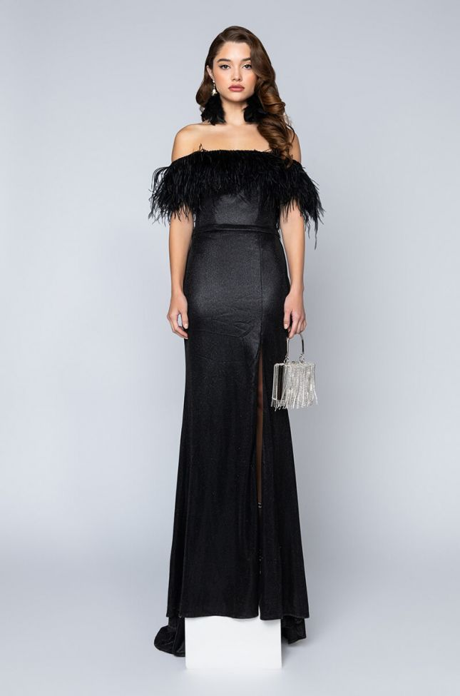Side View Black Label Real Feather Stunna Maxi Gown in Black