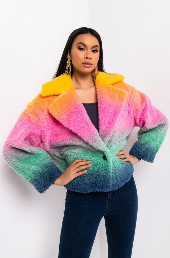 Side View Blank Nyc Hard To Forget Ombre Teddy Jacket in Yellow Multi