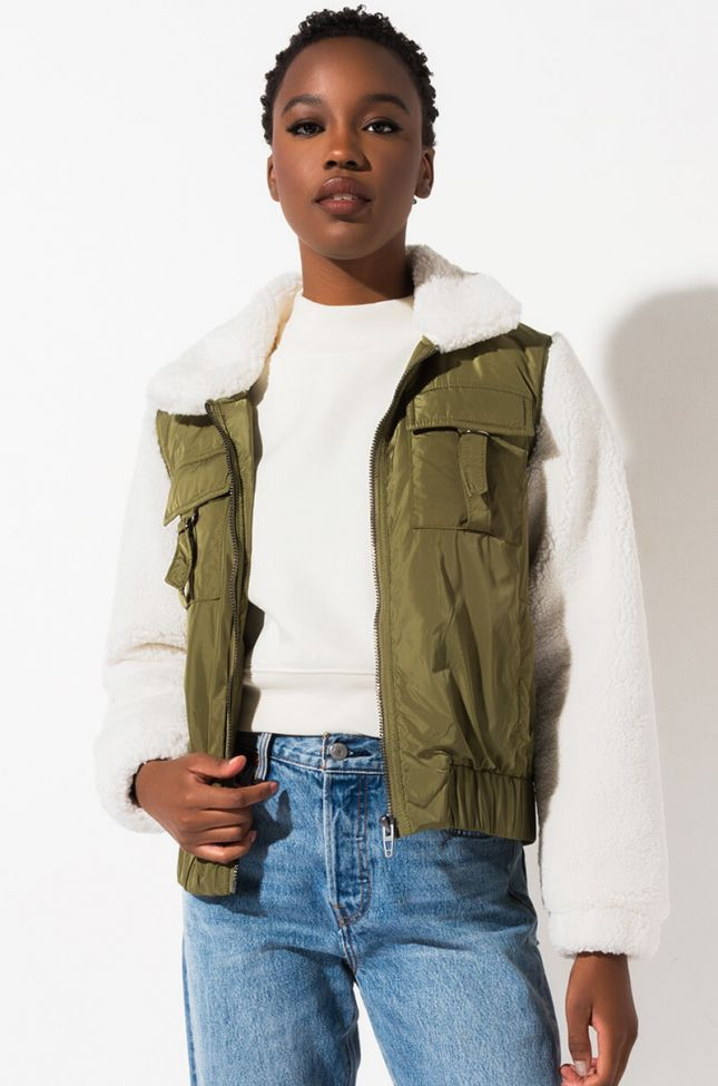 Front View Blank Nyc Take It Easy Sherpa Bomber Jacket  in Olive Off White