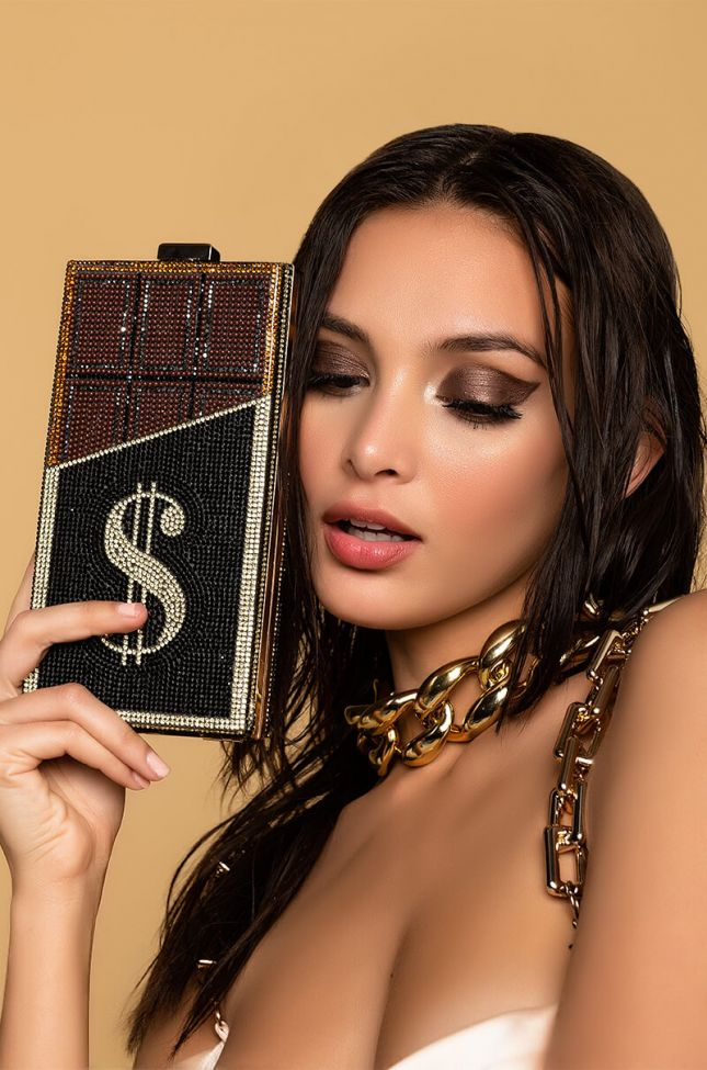 Front View Bling Chocolate Money Clutch in Black Multi