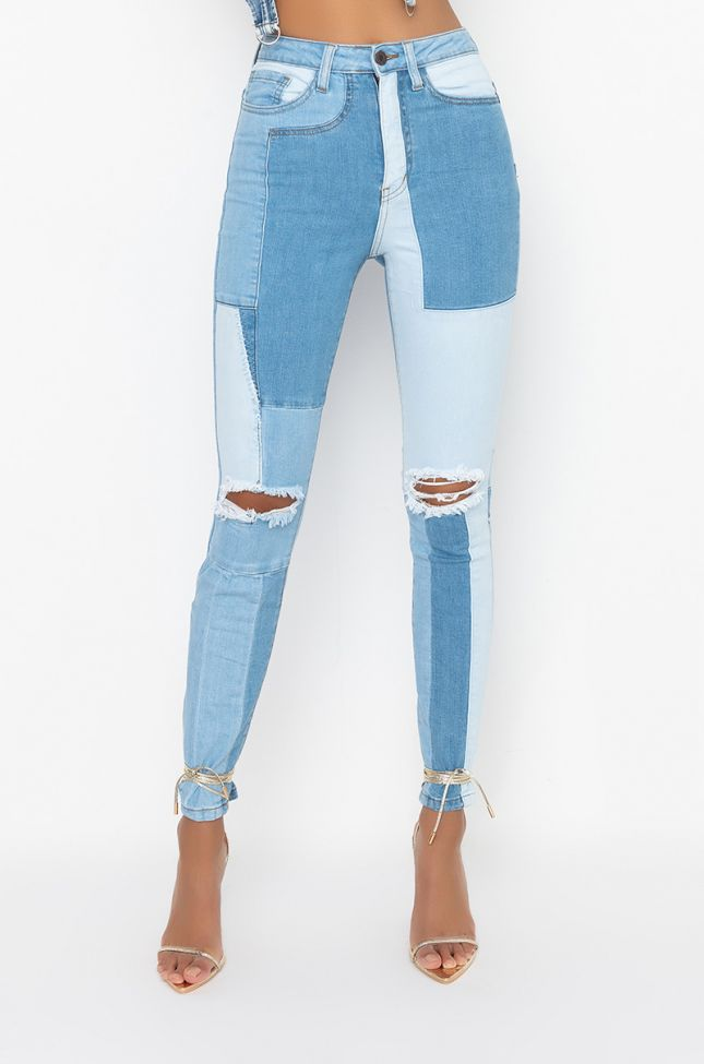 Front View Blue Combo High Rise Skinny Jeans in Light Blue Denim
