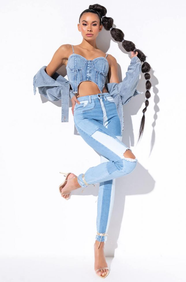 BLUE COMBO HIGH RISE SKINNY JEANS