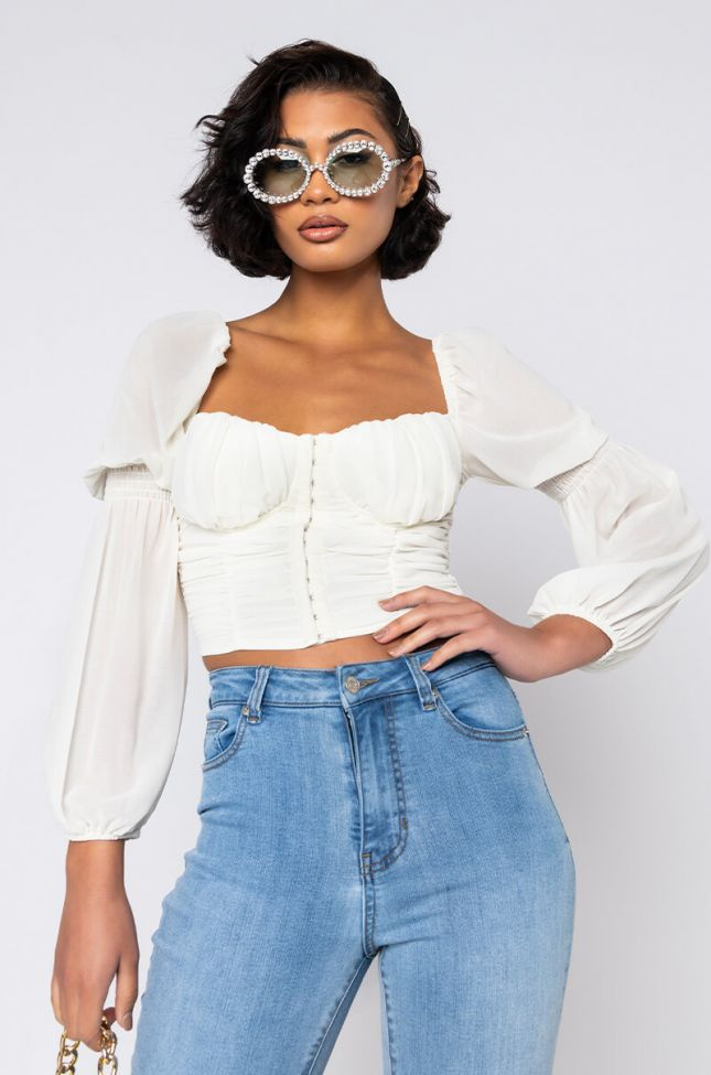 Front View Blue Skies Long Sleeve Blouse in Ivory