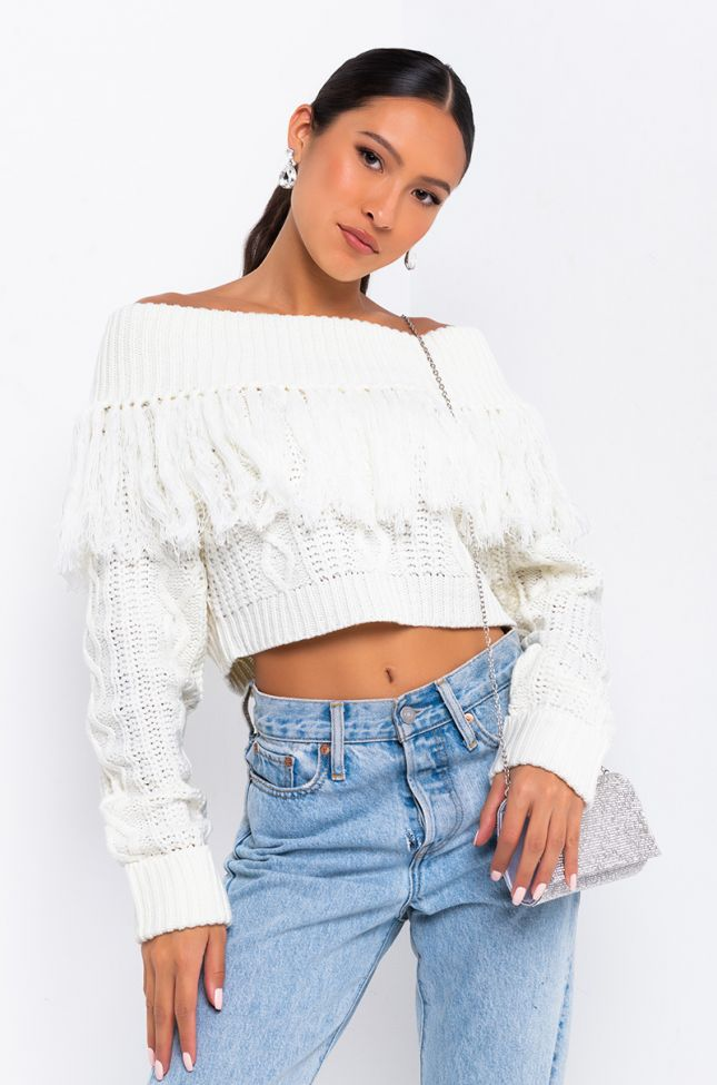 Front View Bobbi Off-shoulder Sweater in Ivory