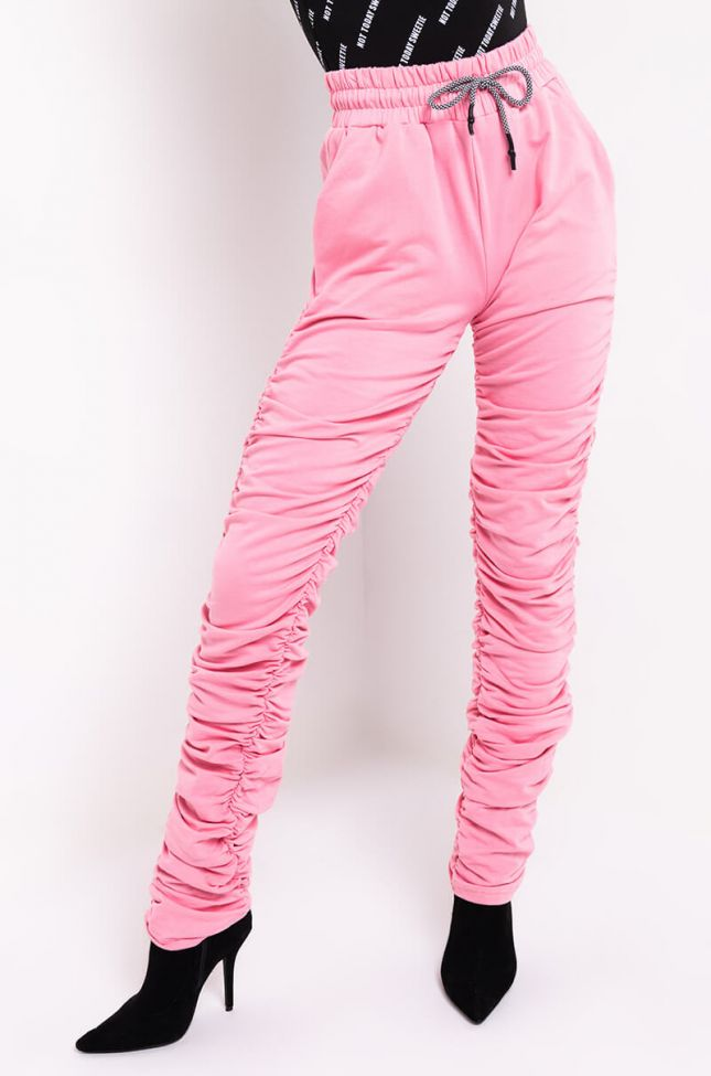 Front View Boo Stacked Jogger Pants in Pink