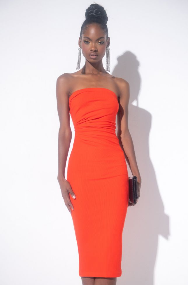 Front View Boo Thang Tube Midi Dress in Red