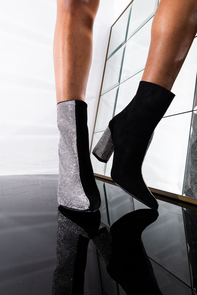 Front View Bood Up Chunky Bootie in Black