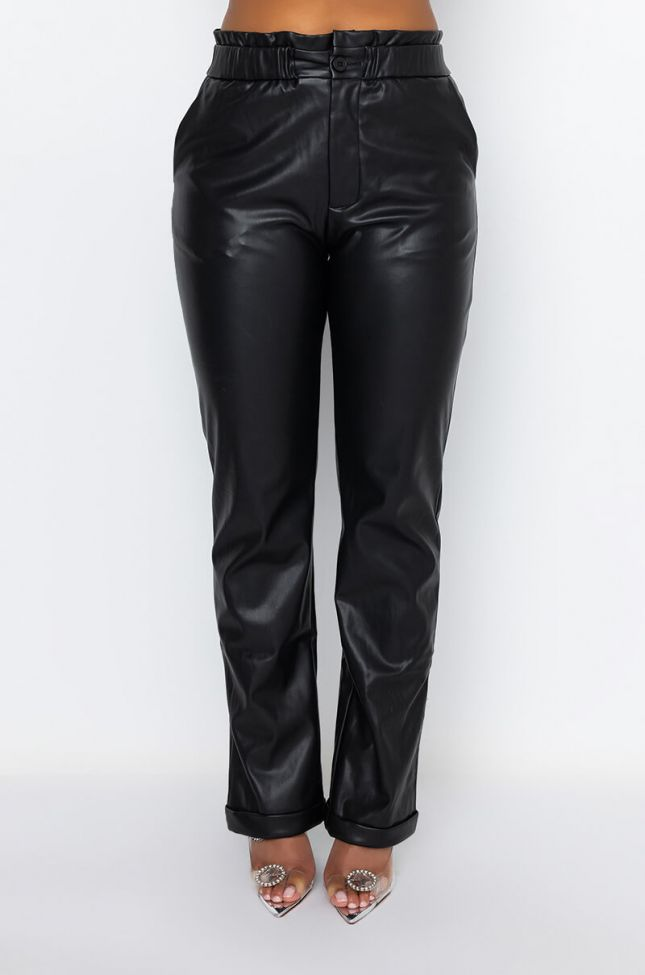 Front View Boogie Nights Straight Leg Faux Leather Pant