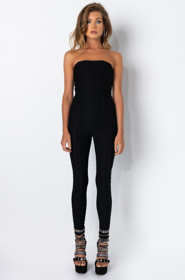 Front View Born To Show It Texture Fabric Romper in Black