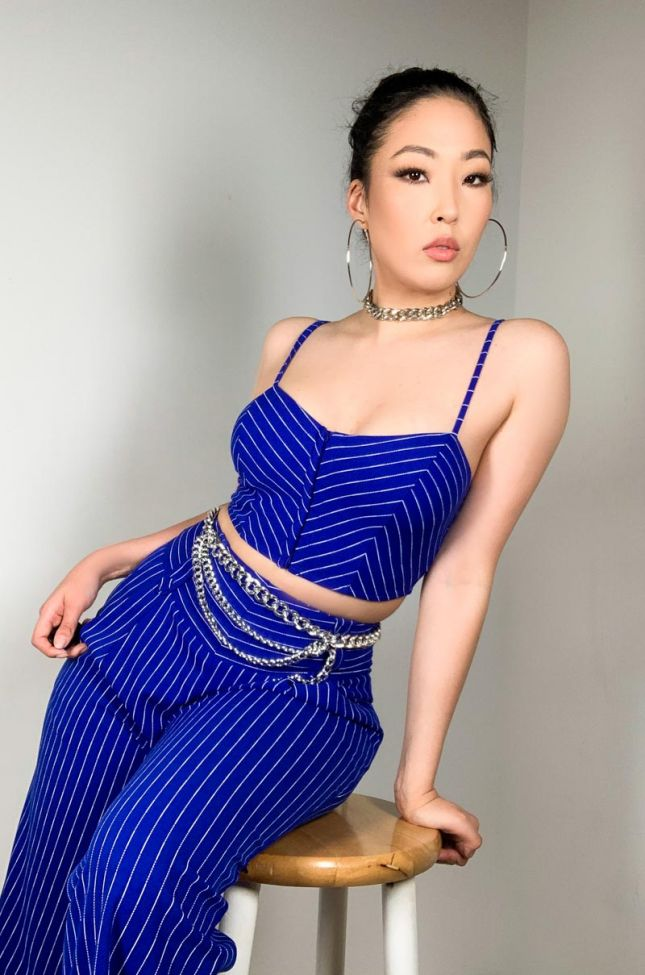 Front View Boss Babe Spaghetti Strap Crop Top in Royal Blue