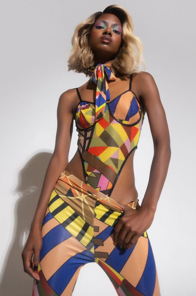 Front View Boss Up And Show Out High Cut Bodysuit in Brown Multi