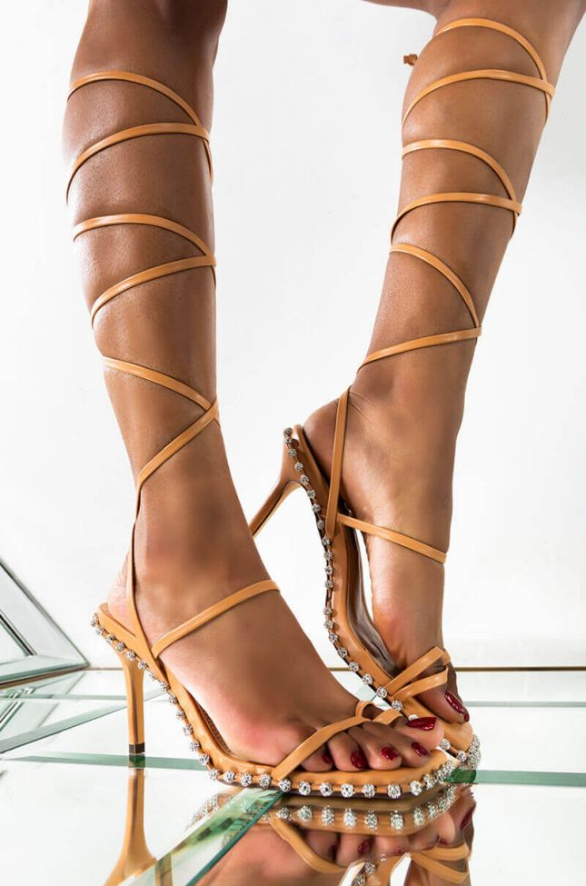 Front View Bounce Back Wrap Up Sandal in Nude