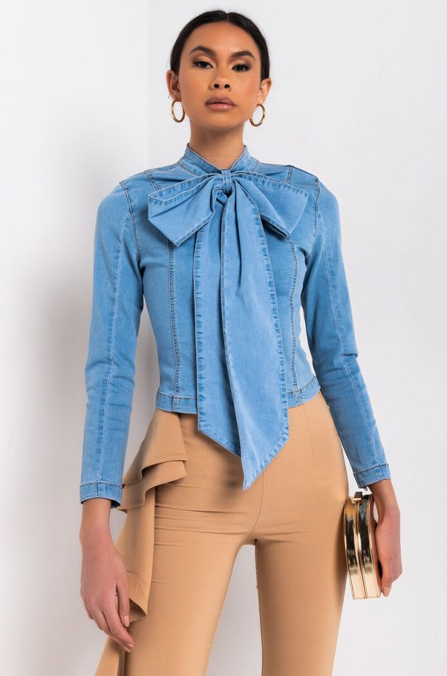 Front View Bow Down Bish Denim Long Sleeve Top in Blue