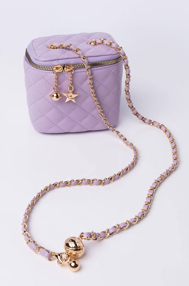 Side View Boxy Quilted Purse in Purple