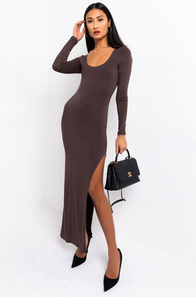 Front View Brand New Just Got It Side Slit Midi Dress in Brown