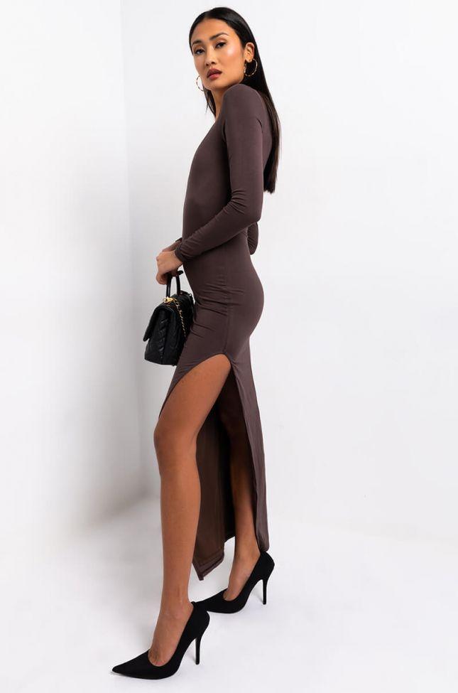 Side View Brand New Just Got It Side Slit Midi Dress in Brown