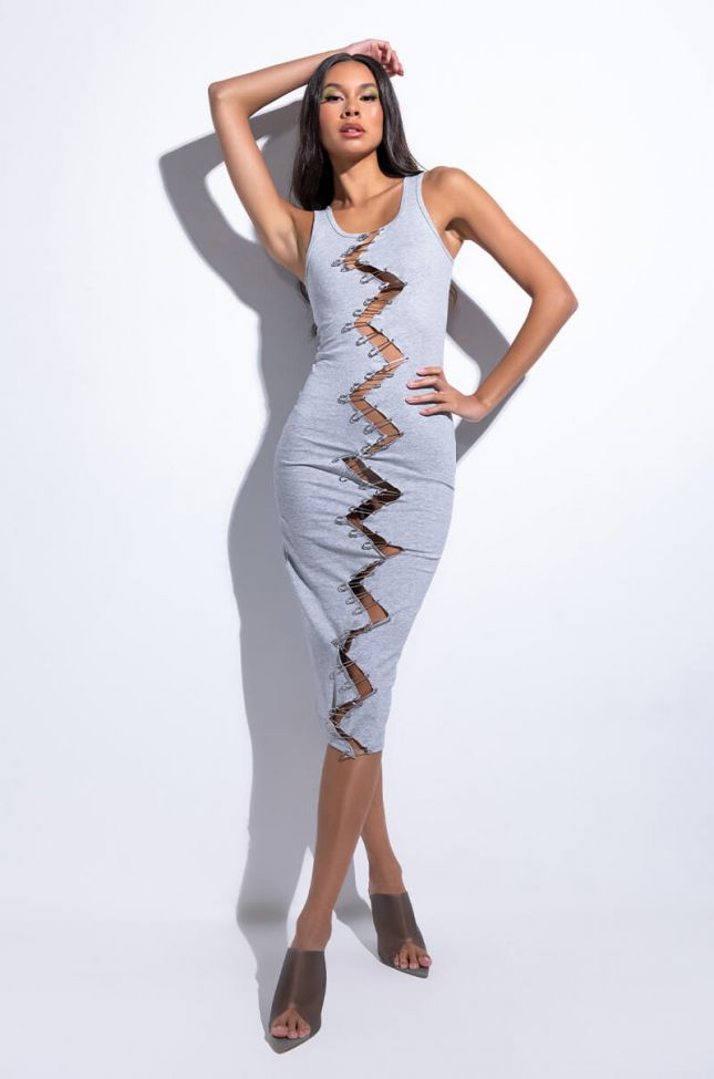 Front View Brave One Midi Dress With Barbell Trim
