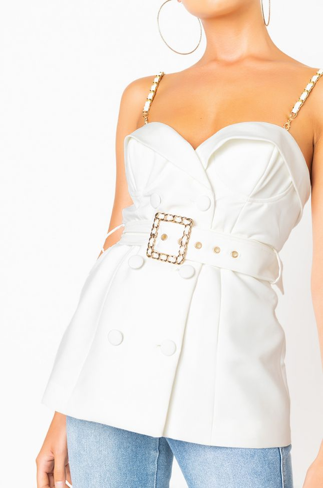 Detail View Brb Honey Belted Blouse in White