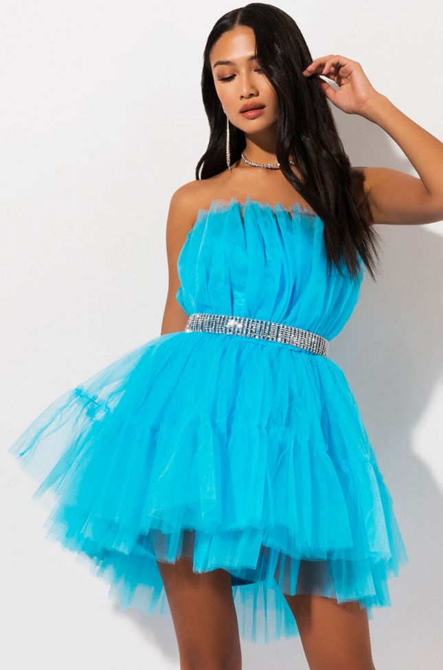 Front View Breakfast At Tiffanys Strapless Tulle Mini Dress  in Blue