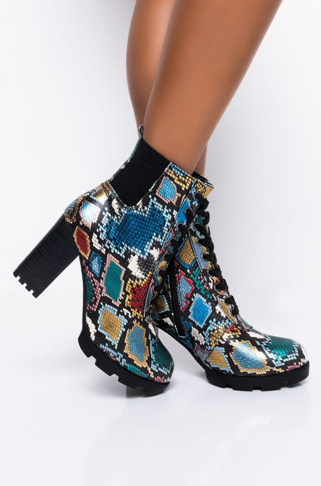 Front View Breathing You In Chunky Bootie in Multi