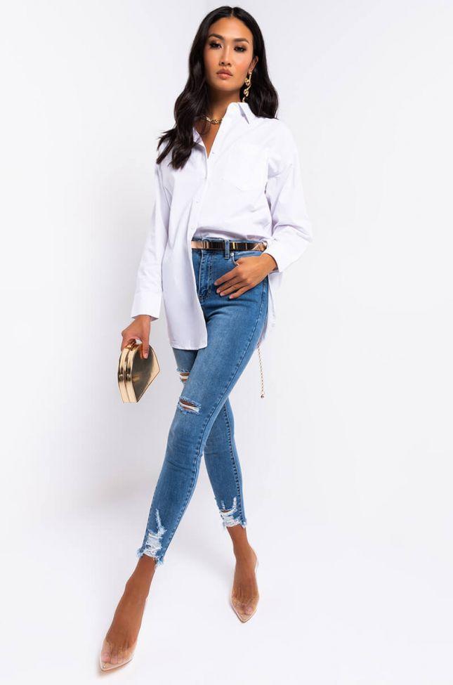 Full View Brenda High Rise Skinny Jeans in Medium Blue Denim