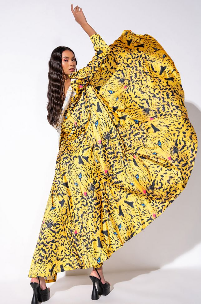 Detail View Bright As Heck Satin Duster in Yellow