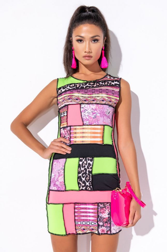 Front View Bright It Up Mini Mesh Dress in Pink Multi