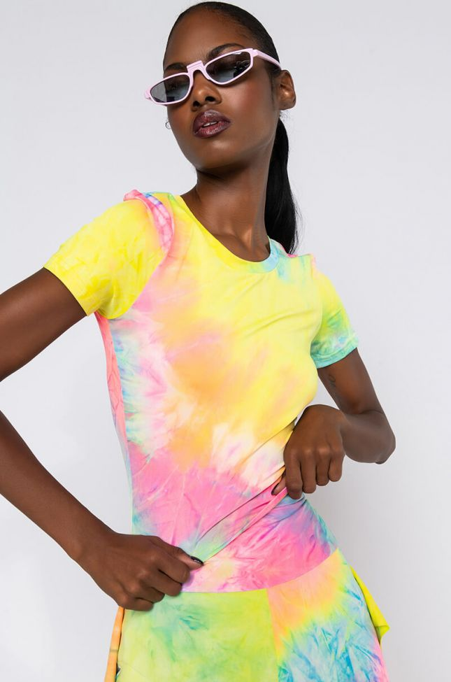 Front View Bright Light Tie Dye T Shirt in Yellow Multi