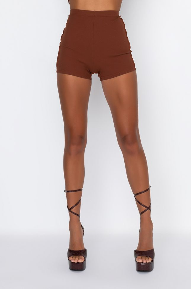 Front View Bring In The Back Biker Shorts in Brown Multi